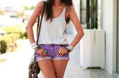 tucked in tank, purple shorts, bag