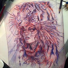Girl and lion