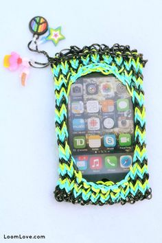 DIY~ Rainbow Loom iPhone Case. I wonder if my nieces would make it for me ;)