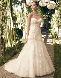 Ivory And Champagne Lace Sweetheart Neckline Casablanca Wedding Dress