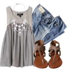 grey vertical stripe tank, lt dirty wash skinnies, taupe sandals, white bubble necklace