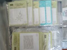 Patti's page filled with embossing folders and dies