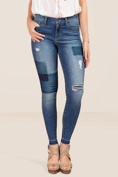 Harper Shadow Patch Release Hem Jeans