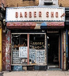 Old School Store Fronts in New York, Barber Shop. Photo by James and Karla Murray Coney Island, Outdoor Fotografie, School Store, Brooklyn, Vintage New York, Shop Fronts, Old Signs, Video Games For Kids, New York Public Library