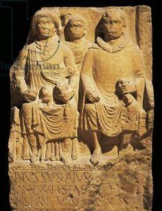 Roman civilization, sailorsailor Blusso's gravestone depicting Blusso wearing tunic and hooded cloak, relief by Weisenan found in Mainz, Germany