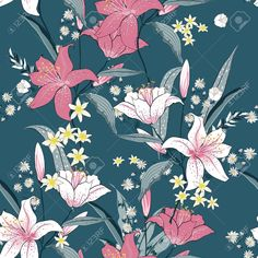 Beautiful blooming seamless pattern with white and pink Lilly. Hand drawing illustration on green background. Illustration , #Affiliate, #pattern, #white, #pink, #Beautiful, #blooming