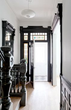 A stunning four story Brooklyn townhouse (on the market :). Beautiful restored interiors (& exterior) by The Brooklyn Home Company, keeping the original details; fireplaces, mouldings, millwork .. andloving the white throughout with the black trim &white oak floors. x debra  via corcoran