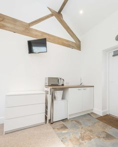 Kitchenette and TV in The Milking Parlour