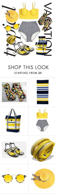 """Welcome to Paradise: Tropical Vacation"" by michele-nyc ❤ liked on Polyvore featuring Lands' End, Jimmy Choo and Krewe"