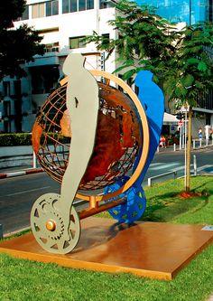 Speed Of Life, Tel Aviv, Israel.  Painted Metal  Sculpture by Uri Dushy