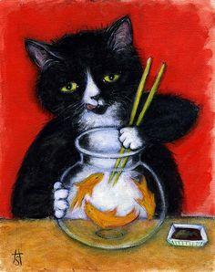Impression de l'art chat Tuxedo. Temps de Sashimi de Charlie