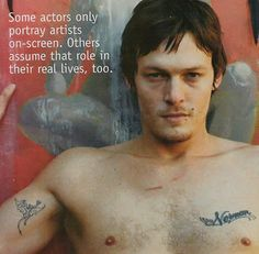 norman reedus | Norman Reedus – Name Tag, Angels and Demons | Celebrity Tattoo ...