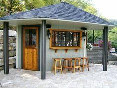 Backyard Cabana, Backyard Bar, Patio Bar, Pool Bar, Backyard Ideas, Backyard Gazebo, Backyard Seating, Bar Seating, Pergola Ideas