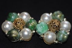 VINTAGE LISNER GREEN AND PEARL CLIP ON EARRINGS. Starting at $4 on Tophatter.com!