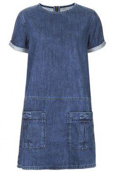 MOTO Utility Denim T-Shirt Dress - What a great dress, suitable for many ages! (idea: use new denim to create dress.upcycle denim jeans for pockets and trim around sleeve and neckline) Alexa Chung, Jeans Dress, Shirt Dress, Denim Dresses, Denim Fashion, Womens Fashion, Fashion Beauty, Fashion Hair, Denim Outfits