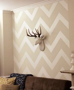 Chevron wallpaper. I think this is so trendy it's on its way out, but it's cool to look at in the picture.