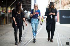 Three people walking in Australia