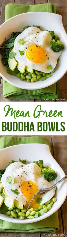 Healthy Vegetarian Mean Green Buddha Bowl Recipe (Vegan Option!)   ASpicyPerspective.com by magicalcrayons