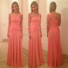 Isabella Narchi 2014 New Arrival Coral Color One Shoulder Chiffon Floor Length Long Evening Dress Women Gown Free Shipping $125.00