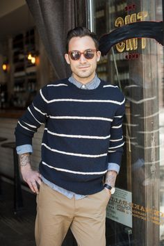 #menswear #casual #outfit #striped #shirt #jumper #khaki #pants #sunglasses #style