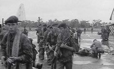 Belgian paratroopers on Stanleyville airfield shortly after the operation - Dragon Rouge