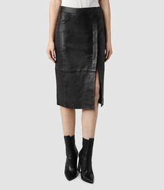 Womens Levitt Leather Skirt (Black)   ALLSAINTS.com