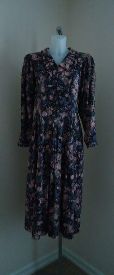 Vintage 1980s Laura Ashley Black Antique Rose Floral Cotton/Wool Blend Dress on Etsy, $94.49 CAD