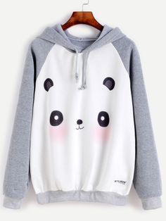 Contrast Cartoon Panda Print Raglan Sleeve Hooded Sweatshirt
