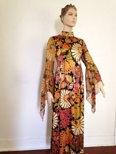 75e2f97281 60 s Rich Hippie Satin Flower Dress Long Belled Sleeves medium 60s Hippies