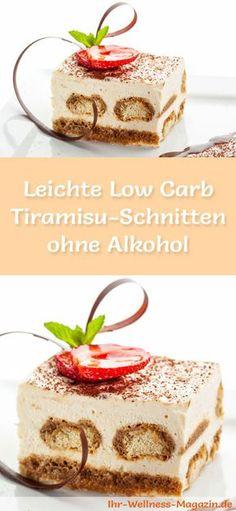 Rezept für leichte Low Carb Tiramisu-Schnitten ohne Alkohol - kohlenhydratarm, kalorienreduziert, ohne Zucker und Getreidemehl