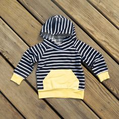 Navy stripe hoodie baby jogger outfit yellow  by sweetwhitepeony2
