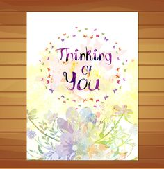 Thinking Of You Card. Watercolor Flower Background Stock Illustration - Image: 52864608