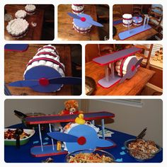 Baby boy shower-diaper plane! Start by making a regular diaper cake, turn it on its side. Finish the bottom of the cake and add a propeller. Make the wings separately out of cardboard, wrap with craft paper or fabric. Fit the diaper plane through narrow side first and decorate!