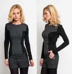This color-blocked top balances you figure and visually reduces your waist! Its structured silhouette and flattering accents underline your feminine curves and add urban chic to your sleek look. Thanks to the neutral colors, the top is easy to mix with various garments, from skirts to leggings.  Combine the top with our favorite harem pants: http://etsy.me/1q2YyOv  We see fashion as more than a product – for us it's a place to express yourself. Cross the boundaries of modern fa...