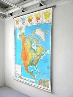 Pull Down Classroom Map North America School Wall Map Nystrom