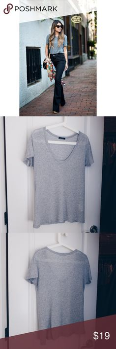 Zara Basic Tee Wonderfully versatile gray t-shirt by Zara Basic - 33% cotton | 67% Lyocell - Like new condition - Covershot features styling idea (not the item for sale) - Bundle and save! ✨ - Thanks for stopping by. Zara Tops Tees - Short Sleeve