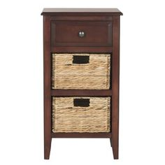 Safavieh Furniture - A neat little side table with top drawer and two removable woven rattan baskets with cutout handles, this cherry piece is brimming with storage space. Side Table With Drawer, End Tables With Storage, Wood End Tables, Wood Table, Rattan Basket, Do It Yourself Home, Small Living Rooms, Paint Finishes, Living Room Furniture