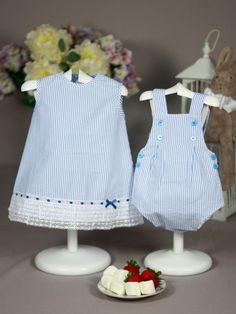 Vestido y pelele marinero azul paz rodriguez ideal mellizos y gemelos
