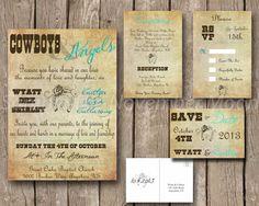 Wedding Invitation Kit Cowboys & Angels, Western, Vintage, Antique, Brown, Teal, Blue, Horseshoe, Hearts, Roses