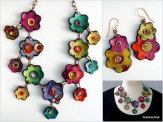 polymer clay flower necklace and earrings by Anarina Anar