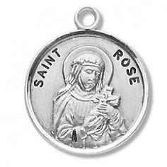 "Saint Rose 7/8"" Round Sterling Silver Medal"