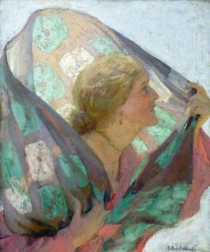 Dama con chal al viento