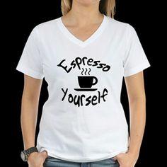 COMING SOON Espresso Yourself V-Neck Tee Espresso Yourself  White V-Neck Tee Tops Tees - Short Sleeve