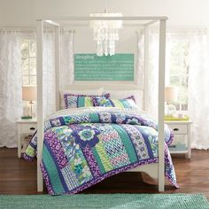 Floral Surf Patchwork Quilt & Sham | PBteen - completes Alex's Bedding Ensemble by tying all the room colors together!