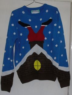 Christmas jumper Size L - Santa Stuck in the Chinmey Ladies or Mens | eBay