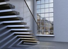 """Learn how to Design a Cantilevered """"Floating"""" Staircase Interior Staircase, Staircase Railings, Staircase Design, Staircases, Stair Design, Staircase Diy, Cantilever Stairs, Metal Stairs, Modern Stairs"""