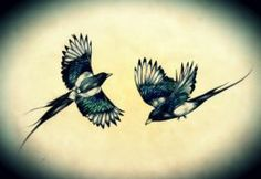 Tattoo design by Helena Wallace of two magpies