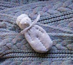 Lavender Filled Sachet Handmade Sock Doll All White Ghost Heart Nose Halloween #Pedricks