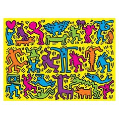 Keith Haring 500 Piece Puzzle You are in the right place about logo Design Elements Here we Keith Haring Kids, Keith Haring Heart, Keith Haring Prints, Keith Haring Poster, Principles Of Art Balance, Balance Art, Acid Trip Art, Wallpaper Wall, Haring Art