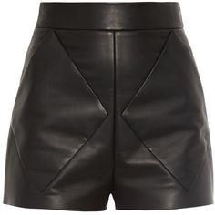 Balenciaga Diamond seam-bonded leather shorts ($555) ❤ liked on Polyvore featuring shorts, bottoms, short, pants, high waisted short shorts, high waisted shorts, high-rise shorts, high-waisted shorts and high rise shorts